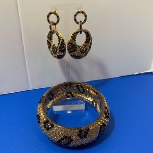 Animal Print Earring And Bangle Bracelet Set